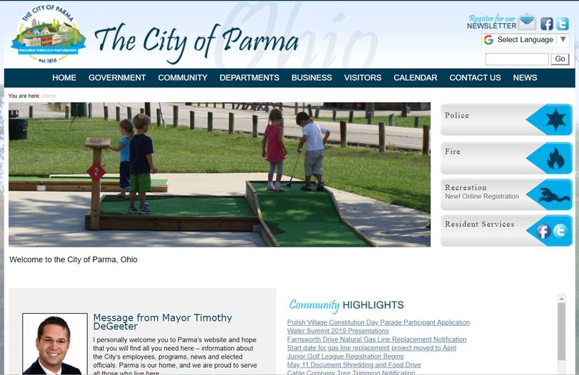 Municipal site screenshot