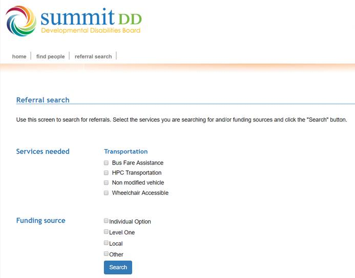 referral search tool screenshot